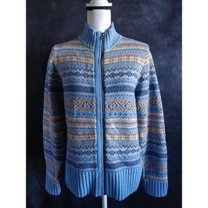 Woolrich Blue Striped Wool Zip Sweater Cardigan M